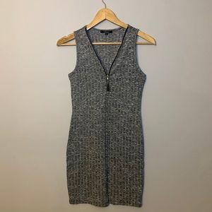 Heather gray gold zipper front mini dress small